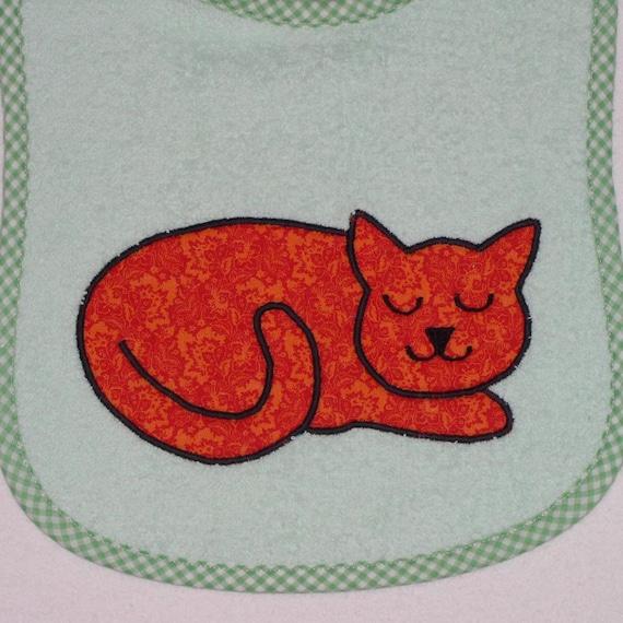 Infant Bib Handmade Baby Bib Terrycloth Infant Bib Applique Orange Sitting Cat