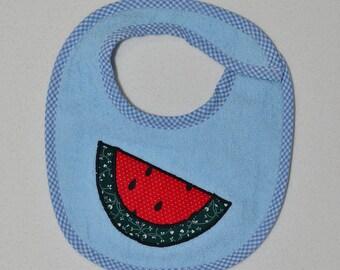 Handmade Baby Bib - Infant Bib - Watermelon - Applique - Terrycloth - Infant Bib