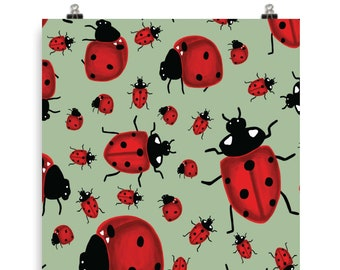 "Ladybug Art Print - 5""x7"", 8x10"", 11""x14""- Wall Art - Garden, Luck, gift, home decor"