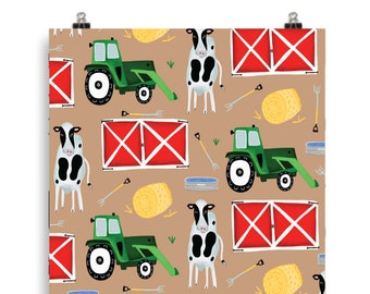 "Tractor Farm Art Print - 5""x7"", 8x10"", 11""x14""- Wall Art - Garden, Luck, gift, home decor"