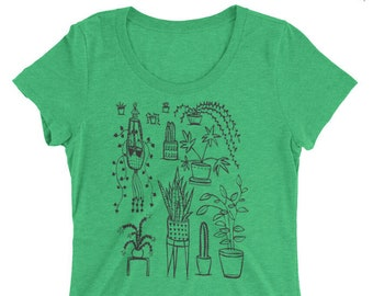 Houseplant - Women's FITTED Tri Blend - S, M, L, XL, 2X- Plants, home, cacti, cactus, jungle
