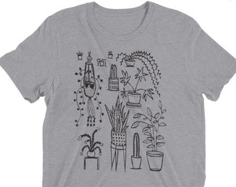 Houseplants - Unisex Tri Blend - XS, S, M, L, XL, 2X, 3X - plants, home, cacti, cactus, jungle
