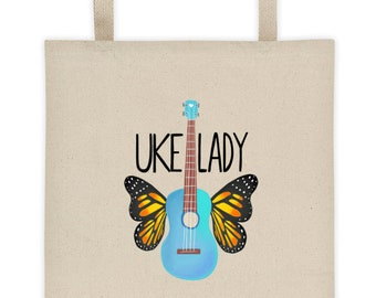 Uke Lady tote bag - Canvas tote - Ukulele, Butterfly, Music, Guitar, Mom, Gift