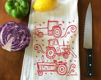 Flour Sack Tea Towel - Tractors - Hand Printed Original illustration - Cattle, Farm, Ranch, country, outdoors, homestead