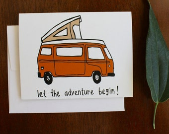 Greeting Card - Camper Van - Outdoors, Mountain, Adventure, VW, National Park, Summer, Road Trip, Gift, illustration, camping, nature