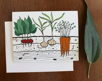 Greeting Card - Vegetable Garden - Farm Fresh Gardening - gift, mothers day, farmers market, carrots, root veggies