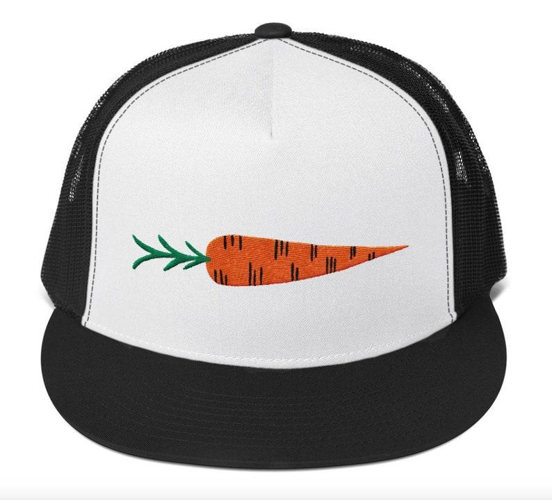 Root Veggie Carrot Embroidered Hat  Five Panel Trucker Cap image 0