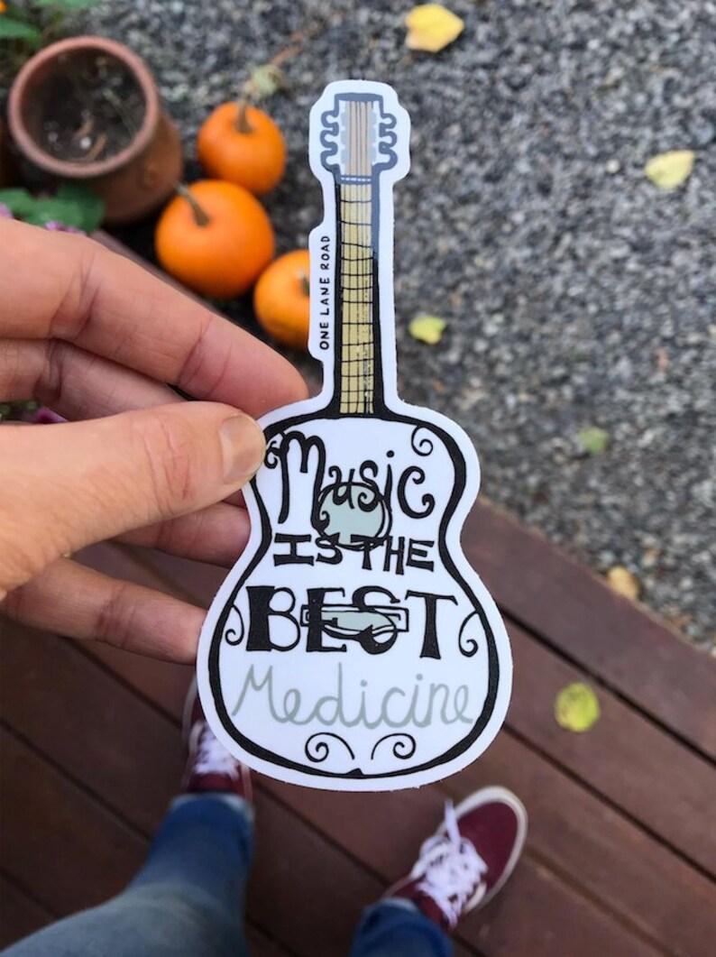 Music is the best medicine Sticker  Guitar Band Instrument image 0