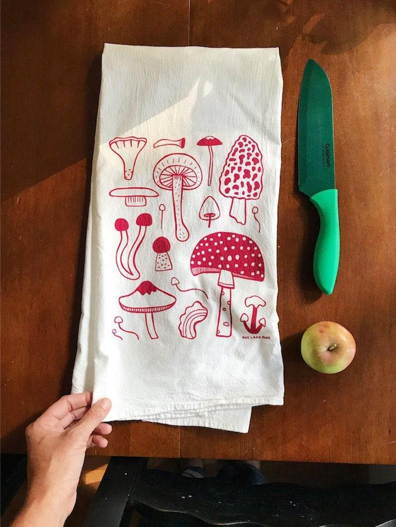 Flour Sack Tea Towel  Mushrooms  Hand Printed Original image 0