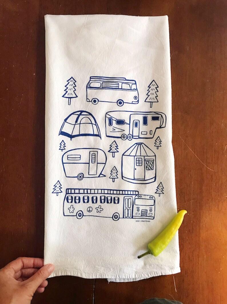 Flour Sack Tea Towel  Camping  Hand Printed Original image 0