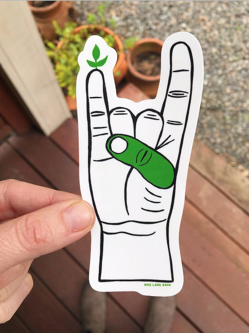 Green Thumb Sticker  Farmers Market Fruits and Veggies image 0
