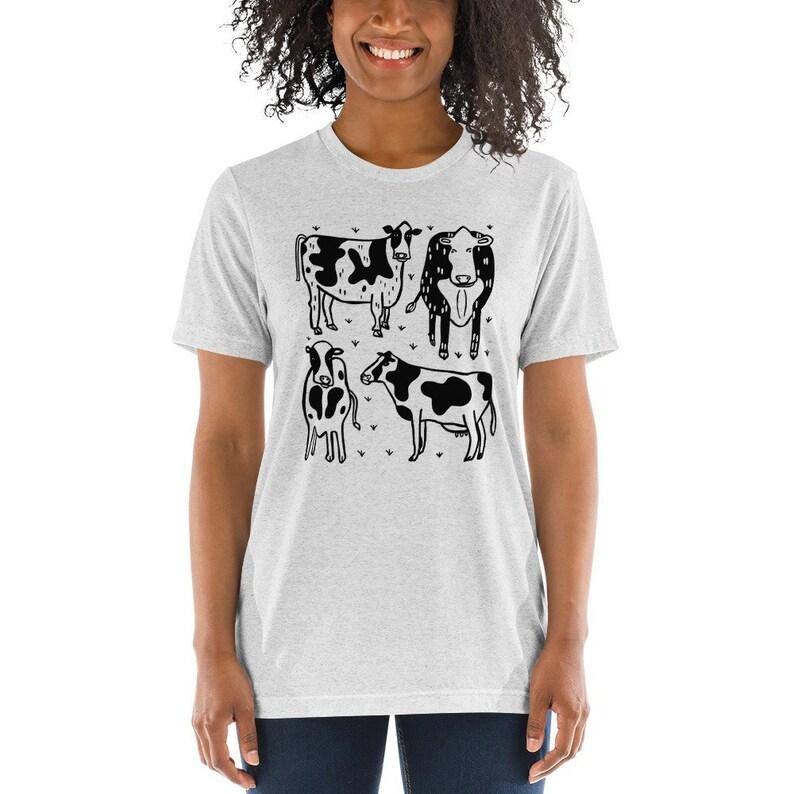 Cow t-shirt  Unisex Tri Blend XS S M L XL 2XL 3XL  Farm image 0