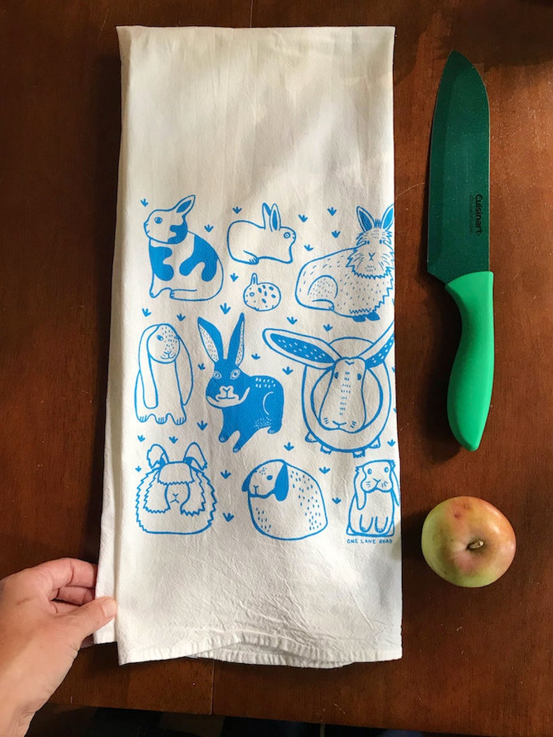Flour Sack Tea Towel  Bunnies  Hand Printed Original image 0