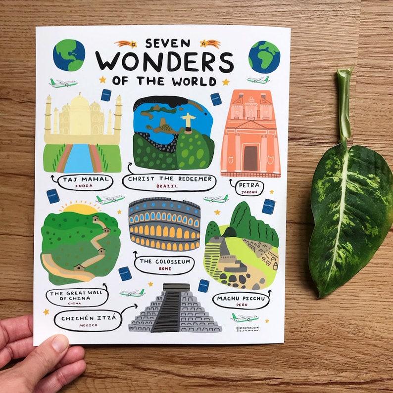 Seven Wonders Of The World  Art Print  8x10 image 0