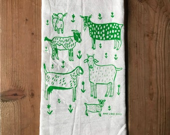 Flour Sack Tea Towel - Goats  - Hand Printed Original illustration - Farm Animals, livestock, country, illustration