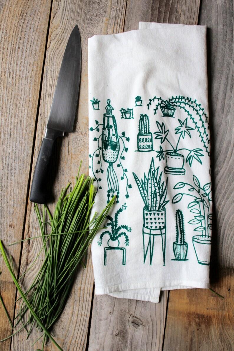 Flour Sack Tea Towel  Houseplants   Hand Printed Original image 0