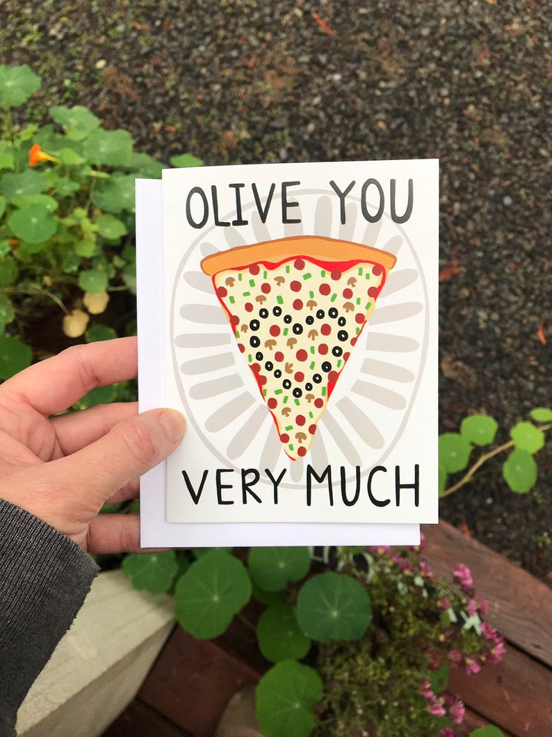 Greeting Card  Olive You Very Much  Love friendship pizza image 0