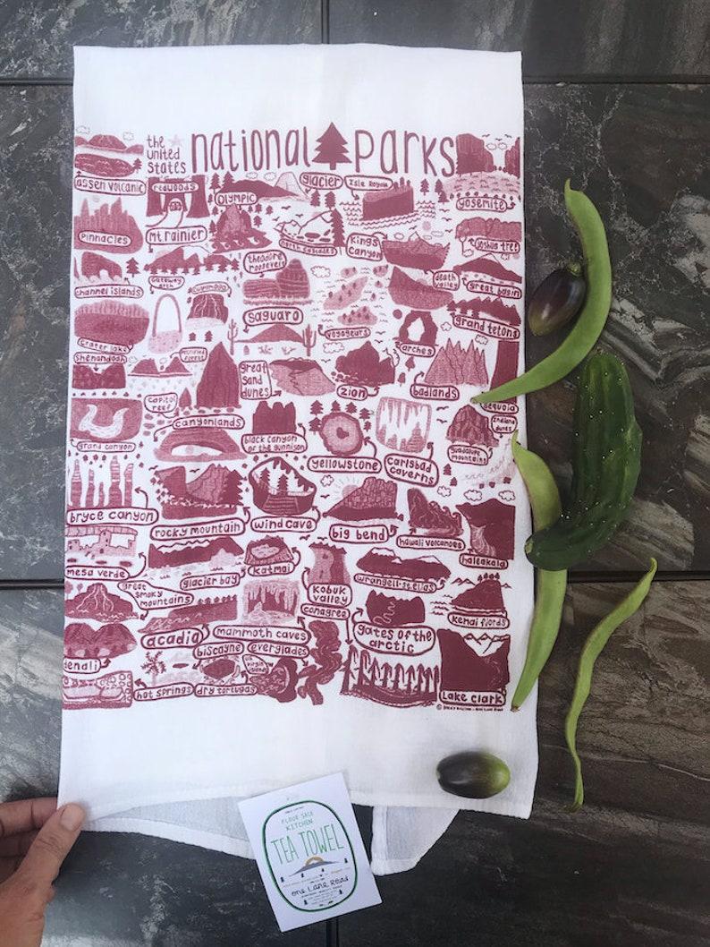 Flour Sack Tea Towel  US National Parks  Hand Printed image 0