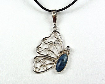 sterling silver butterfly pendant with lapis and diamond
