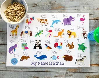 Personalized placemat for kids Activity Placemat for Children Personalized Racoon Placemat Laminated Custom Double-sided placemat