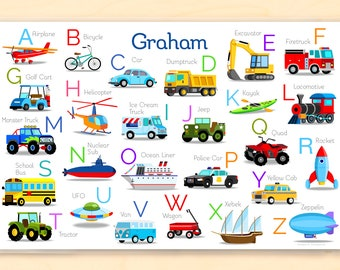 Vehicles Alphabet Personalized Placemat