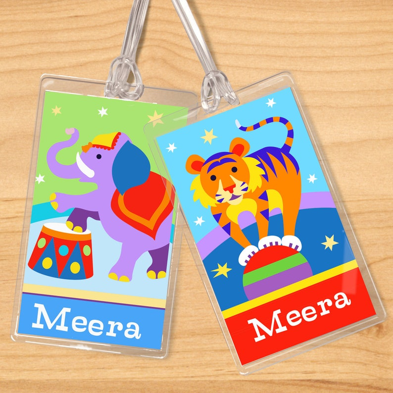 a981343f5a65 Kids Personalized Big Top Name Tag Set, Kid's Circus Name Tags, Circus  Luggage Tags, Circus Backpack Tag, Circus Diaper Bag Tag, Party Favor