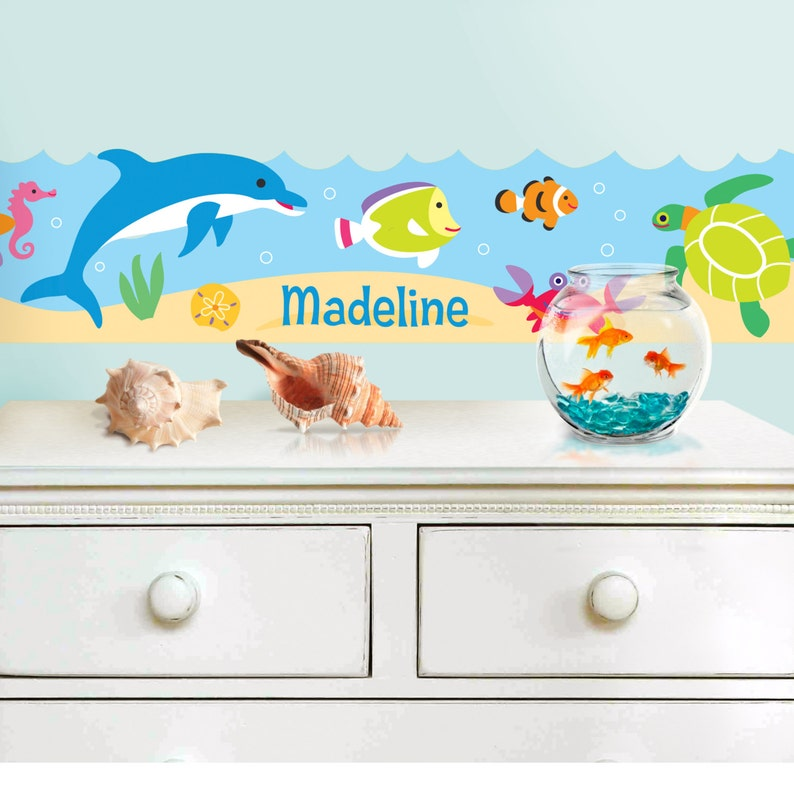Olive Kids Personalized Ocean Peel and Stick Wall Border
