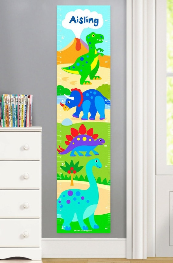 Kids Personalized Dinosaur Canvas Growth Chart Kids T Rex Etsy