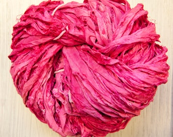 Sari Silk Ribbon Kettle Dyed in Sunset Shades Worm Goo by Pen and Hook Skeins in Four Sizes