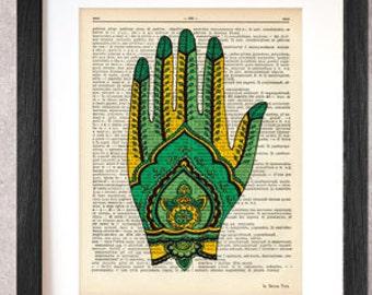 Hand Henna tattoo dictionary print-boho print -Mehndi print-Mehndi on book page-Tattoo print-Henna print-Hamsa print-by NATURA PICTA-DP006
