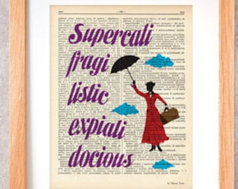Mary Poppins print-Supercalifragilisticexpialidocious print-Nursery print-Dictionary Poppins-Mary Poppins poster-design NATURA PICTA-DP050