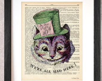 Cheshire cat print-Cheshire cat dictionary print-Cheshire on book page-Alice print-Cheshire cat poster-nursery print-by NATURA PICTA-DP060