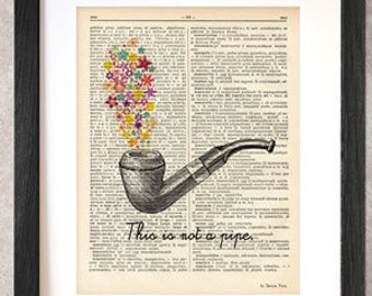 Rene Magritte tribute ceci n'est pas une pipe dictionary print-Magritte print-Magritte on book page-pipe print-NATURA PICTA-DP013