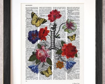 Human lungs print-anatomy print-lungs print-Lungs wall art-anatomy print set-home decor-lungs-Dictionary lungs print-NATURA PICTA-NPDP071