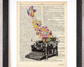 Stampa grafica con macchina da scrivere realizzata su vera pagina di dizionario d'epoca-poster-Design by NATURA PICTA-Made in Italy-DP014