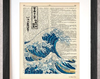 The Great Wave off Kanagawa dictionary print-Kanagawa print-The Great Wave print-The Wave on book page-Kanagawa print-by NATURA PICTA-DP018