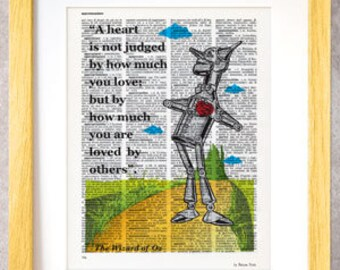 A heart is not judged Wizard of Oz quote dictionary print-Tin Man art print-Oz print-Oz on book page-Wizard of Oz poster-NATURA PICTA-DP021