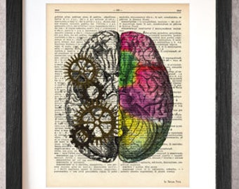 Left right brain dictionary print-brain print-Anatomy print-brain on book page-Christmas gift-brain poster-brain-by NATURA PICTA-DP034