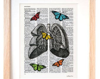 Anatomical human lungs with butterflies print-lungs print-Anatomy print-medical office decor-Lungs on book page-anatomy-doctor gift-NPDP083