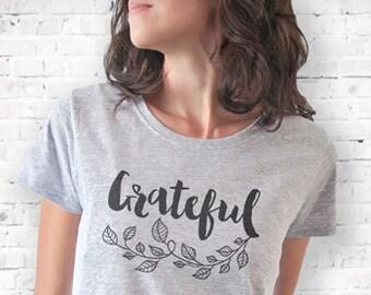 Thanksgiving T-shirt-grateful T-shirt-thankful tank top-Holiday t-shirt-custom family tees-women shirt-gratitude shirt-NATURA PICTA-NPTS109
