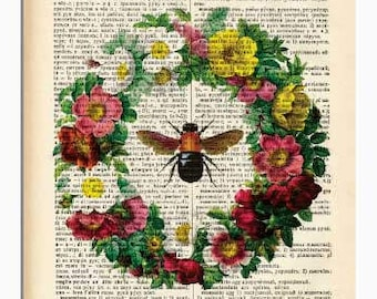 Bee insect print-Bee insect dictionary print-insect print-Bee book art-gift for mom-botanical print-home decor-bee decor-NATURA PICTA-DP180