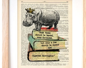 Hippo on books dictionary print-Funny hippo print-Hippo print-Hippo on book page-Upcycled Dictionary art- hippo decor-by NATURA PICTA-DP129