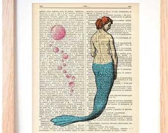 Mermaid print-Mermaid dictionary print-Mermaid on book page-Siren print-ocean wall art-bech decor-print-Christmas gift-by NATURA PICTA-DP119