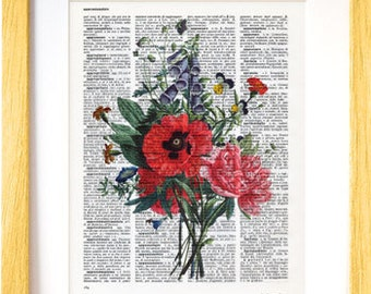 Flowers bouquet print-Flowers dictionary print-home decor-rustic print-flower poster-Flowers on book page-Botanical print-NATURA PICTA-DP132