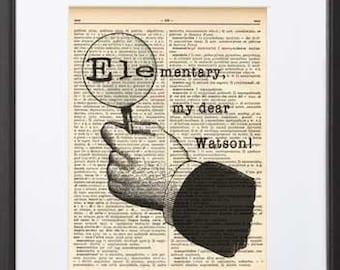 Elementary My Dear Watson print-Sherlock print-Watson print-Sherlock book art-Sherlock dictionary print-holiday gif-quote print-NATURA PICTA