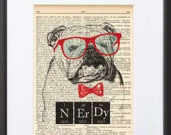 English bulldog print-English Bulldog nerdy print-Funny animal print-Bulldog dictionary art-bulldog wall art-holiday gift-NATURAPICTA-DP096