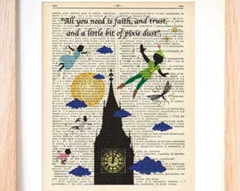Peter Pan print-Peter Pixie Dust dictionary print-Nursery print-Peter book art-Peter gift-Christmas gift-Peter wall art-NATURA PICTA-DP098