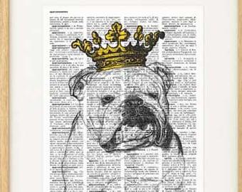 English bulldog with crown print-English bulldog print-funny dog print-bulldog book art-dictionary print-pet lovers gift-NATURA PICTA-NPDP86
