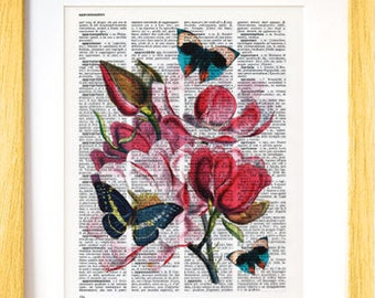 Magnolia flower print-magnolia flower dictionary print-Flowers print-Flower on book page-botanical print-home decor-by NATURA PICTA-DP135