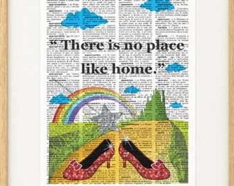 There is no place like home print-Wizard of Oz print-Dorothy Ruby Red print-Wizard Oz gift-nursery print-holiday gift-by NATURA PICTA-DP094